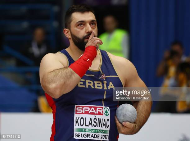 Asmir Kolasinac of Serbia competes in the Men's Shot Put qualification on day two of the 2017 European Athletics Indoor Championships at the Kombank...