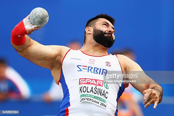 Asmir Kolasinac of Serbia in action during the final of the mens shot put on day five of The 23rd European Athletics Championships at Olympic Stadium...