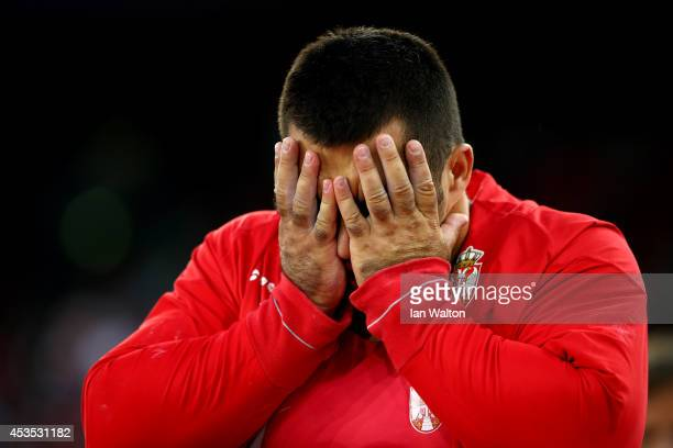 Asmir Kolasinac of Serbia reacts in the Men's Shot Put final during day one of the 22nd European Athletics Championships at Stadium Letzigrund on...
