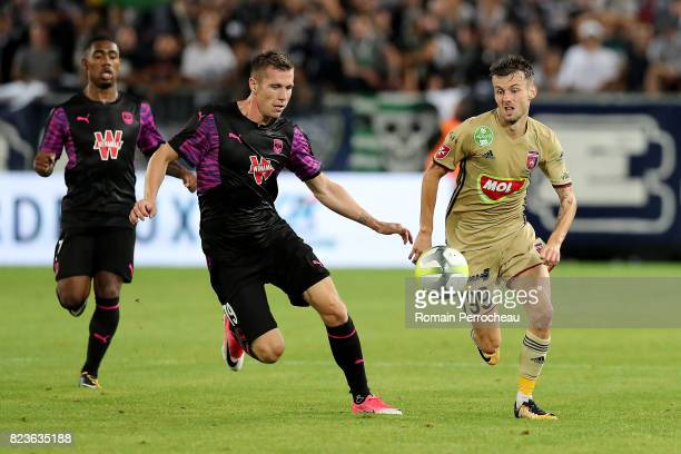 Asmir Suljic of Videoton in action during the UEFA Europa League qualifying match between Bordeaux and Videoton at Stade Matmut Atlantique on July 27...