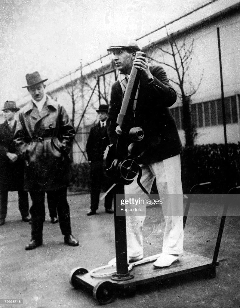 Asnieres France French Tennis player Rene Lacoste demonstrates