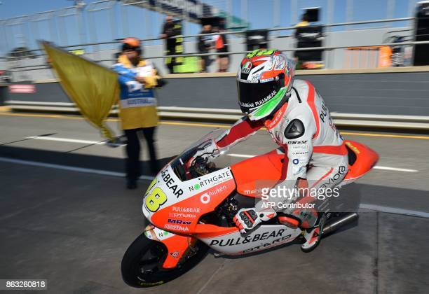 Aspar Mahindra rider Lorenzo Dalla Porta of Italy enters the pit lane during the Moto3class first practice session of the Australian MotoGP Grand...