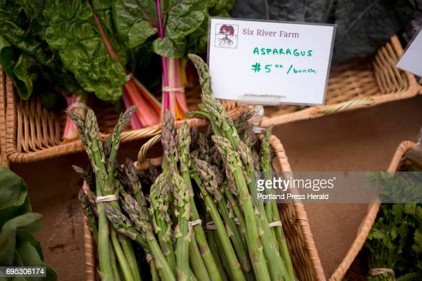 Asparagus for $5 a pound at the Six Rivers Farm booth at the Brunswick Farmers' Market