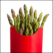 asparagus in a french fry container