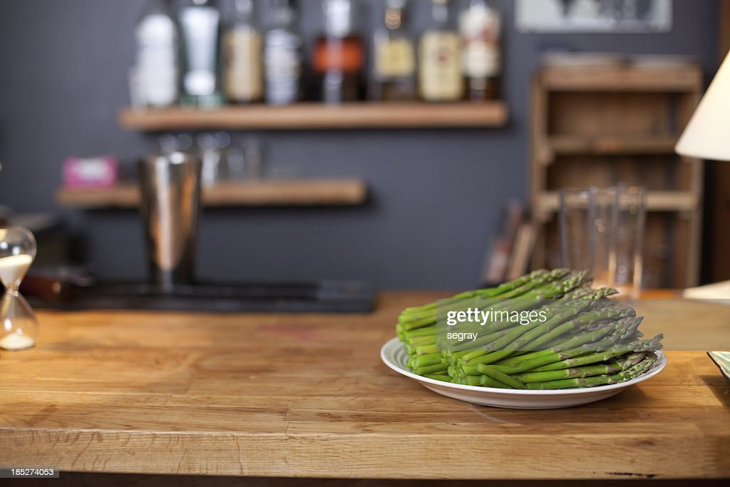 Asparagus on a kitchen counter