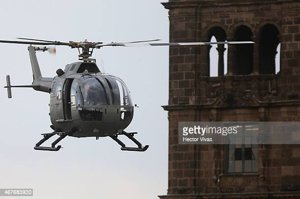 Aspects of helicopter scene during the filming of the latest James Bond movie 'Spectre' at downtown streets of Mexico City on March 26 2015 in Mexico...
