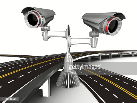 asphalted road with camera on white. Isolated 3D image : Stock Photo