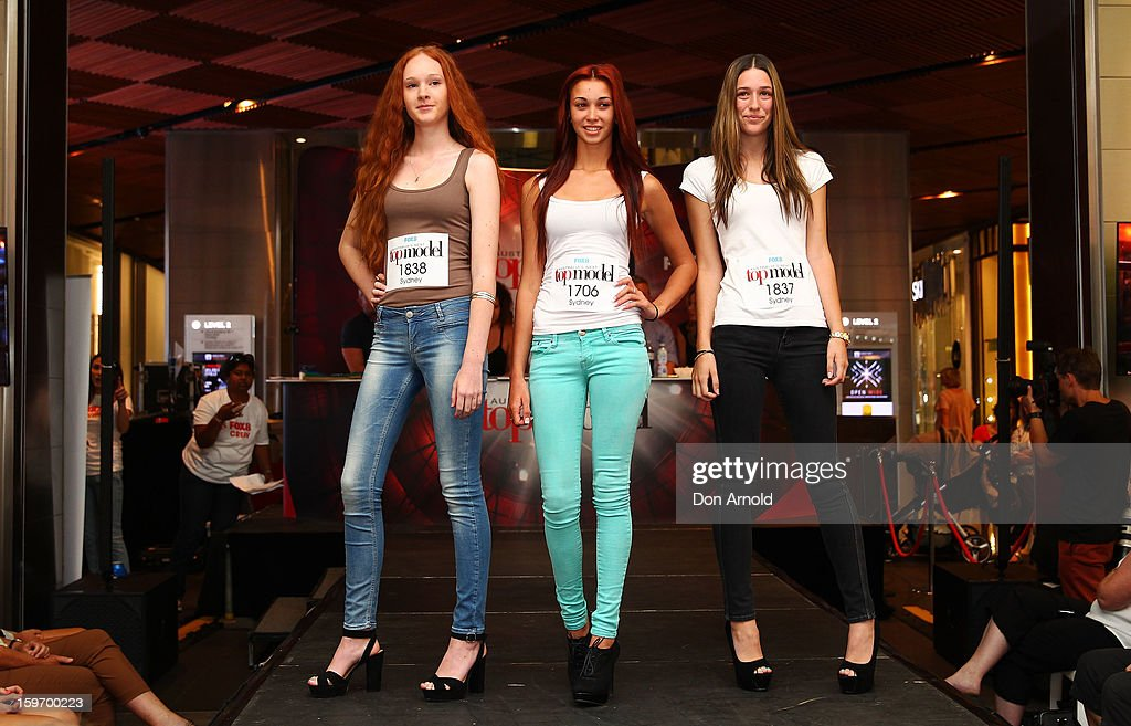 Aspiring models and contestants pose in front of the crowd and judges at the Sydney audition for Season 8 of Australia's Next Top Model on January 19, 2013 in Sydney, Australia.