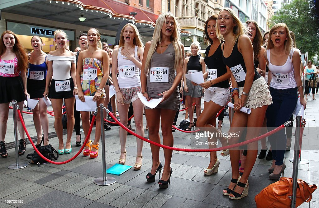 Aspiring models and contestants wait excitedly for Jennifer Hawkins to arrive at the Sydney audition for Season 8 of Australia's Next Top Model on January 19, 2013 in Sydney, Australia.