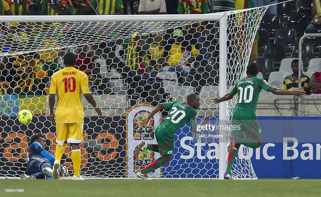 Asrat Megersa Gobena of Ethiopia heads the ball during the 2013 African Cup of Nations match between Burkina Faso and Ethiopia from Mbombela Stadium on January 25, 2013 in Nelspruit, South Africa.