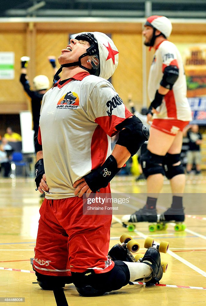 Ass Hell Off of Quad Guards reacts in the Men's European Cup roller derby tournament at Walker Activity Dome on August 31, 2014 in Newcastle upon Tyne, England.