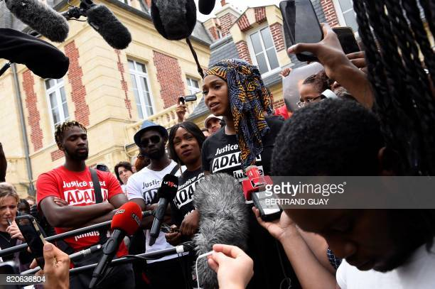 Assa Traore the elder sister of late Adama Traore who died during his arrest by the police in July 2016 addresses the media during a commemorative...