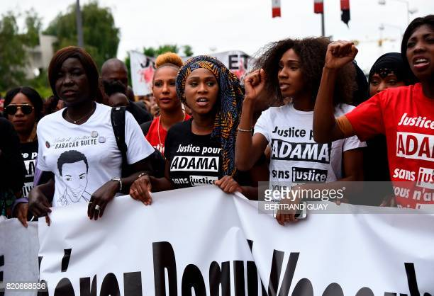 Assa Traore the elder sister of late Adama Traore who died during his arrest by the police in July 2016 takes part in a commemorative march on July...