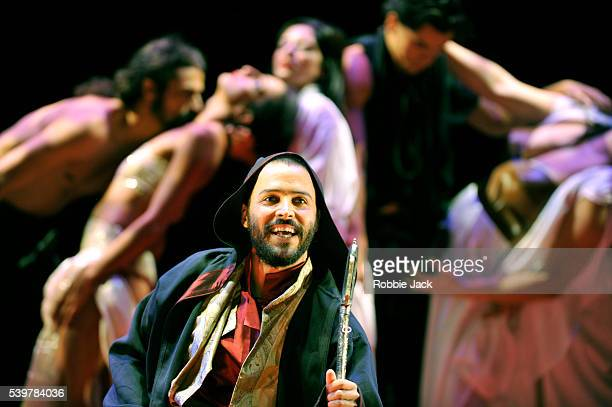 Assaad Bouab as Sharayar with artists of the company in Tim Supple's 'One Thousand And One Nights' directed by Tim Supple at the Royal Lyceum Theatre...