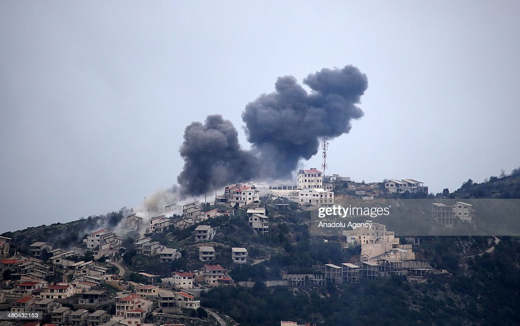 Assad regime's forces air and land attack on the area to regain control over it after Syrian opposition forces seized Latakia's Kasab town, on March 25, 2014, in Hatay, Turkey.