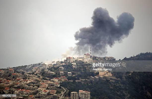 Assad regime's forces air and land attack on the area to regain control over it after Syrian opposition forces seized Latakia's Kasab town on March...