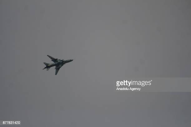 Assad regime's warcraft carries out airstrikes over Arbin of the Eastern Ghouta region of Damascus in Syria on November 23 2017