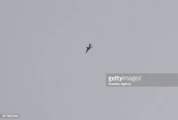 Assad regime's warplane carries out airstrikes over the deescalation zone of Ein Tarma suburb of the Eastern Ghouta region in Damascus Syria on...