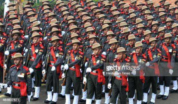 Assam regiment jawans passing through the saluting base during the full dress rehearsal for Republic Day Parade at Rajpath on January 23 2014 in New...