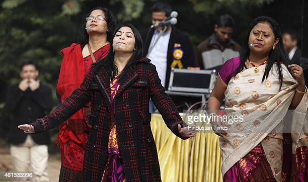 Assam women playing games during the celebration of Bhogali Bihu organized by Bordoisila Foundation a sociocultural organization at Garden of Five...