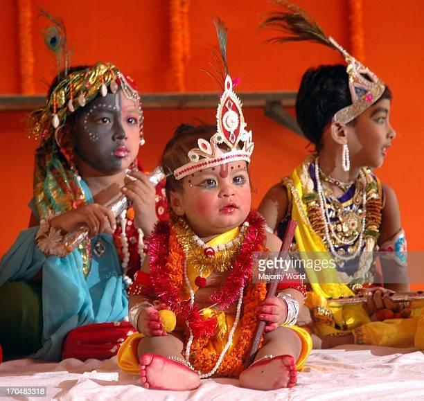 Assamese children dressed like Lord Krishna taking part at a Krishna Janmastami Utsav organized by Viswa Hindu Parishad in Guwahati India September...