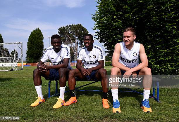 Assane Demoya Gnoukouri Isaac Donkor and George Puscas attend FC Internazionale training session at the club's training ground at Appiano Gentile on...