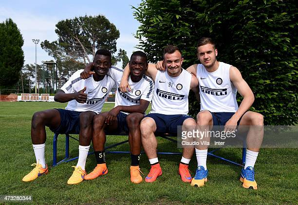 Assane Demoya Gnoukouri Isaac Donkor Xherdan Shaqiri and George Puscas attend FC Internazionale training session at the club's training ground at...