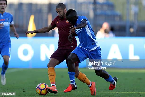 Assane Diousse' of Empoli Fc for the ball with Bruno Peres of AS Roma during the Serie A match between Empoli FC and AS Roma at Stadio Carlo...