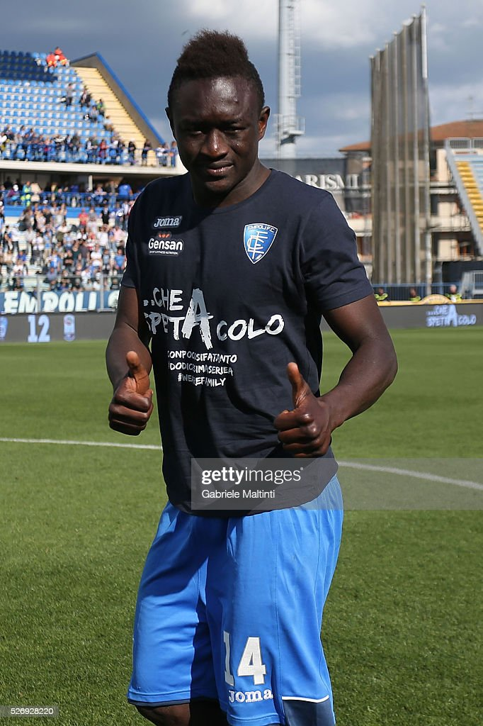 Assane Diousse of Empoli FC reacts during the Serie A match between Empoli FC and Bologna FC at Stadio Carlo Castellani on May 1, 2016 in Empoli, Italy.