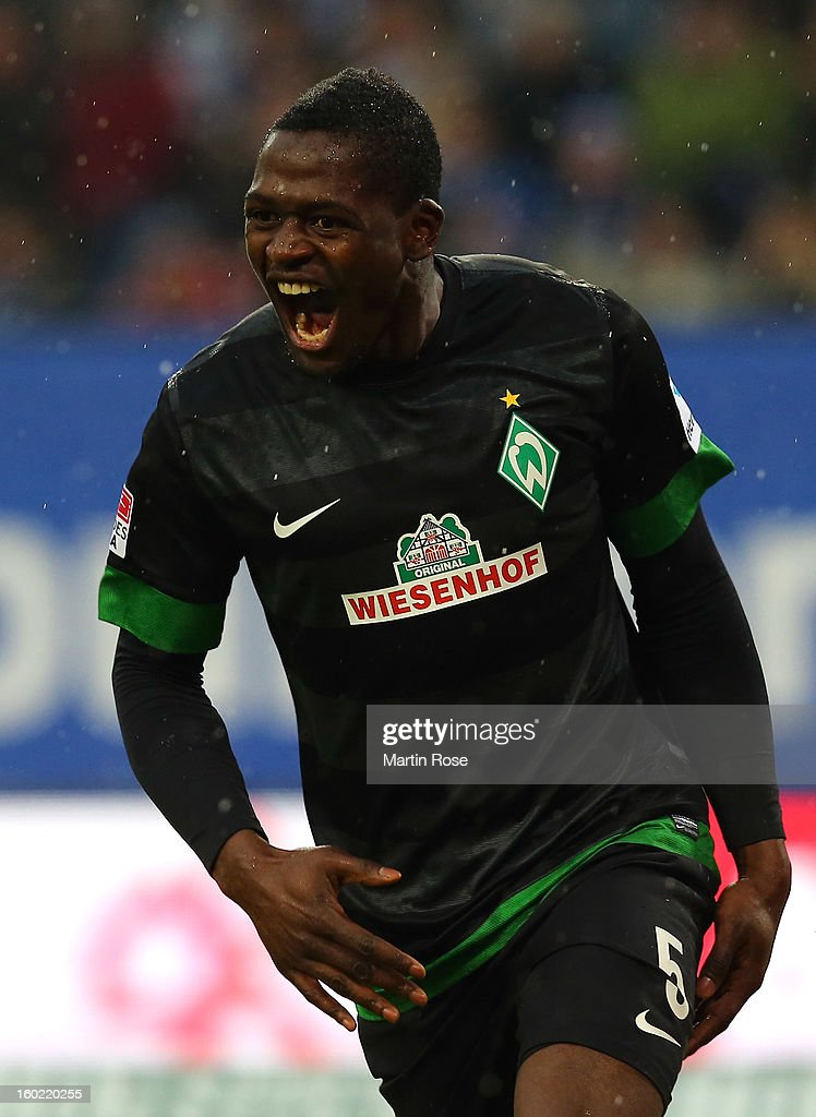 Assani Lukimya of Bremen celebrates after he heads his team's 1st goal during the Bundesliga match between Hamburger SV and SV Werder Bremen at Imtech Arena on January 27, 2013 in Hamburg, Germany.
