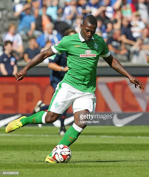 Assani Lukimya of Bremen runs with the ball during the Bundesliga match between Hertha BSC and SV Werder Bremen at Olympiastadion on August 23 2014...