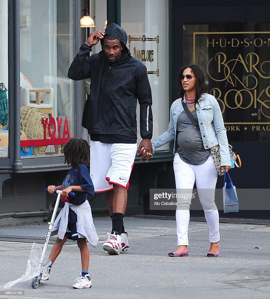 Assata Stoudemire, Amar'e Stoudemire and Alexis Welch are seen in the West Village on April 10, 2013 in New York City.