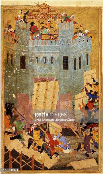 Assault on the Fortress of the Knights of St John at Smyrna from Zafarnama or Book of Victory the biography of Timur known to the English world as...