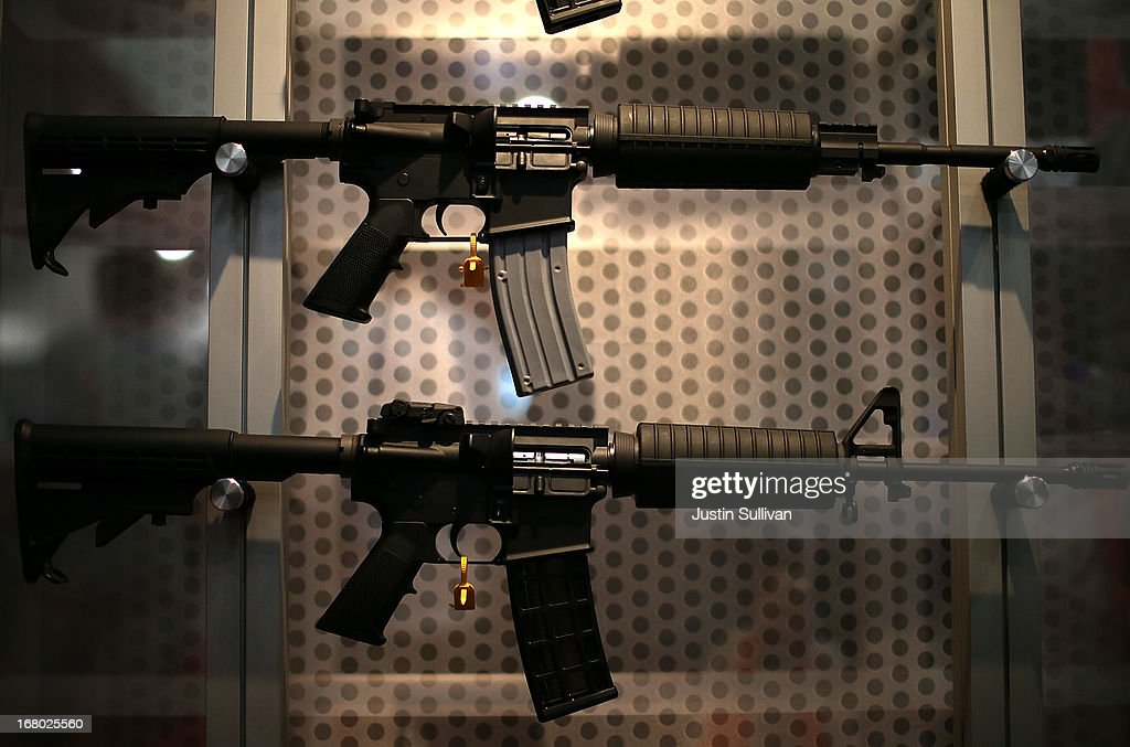 Assault rifles are displayed during the 2013 NRA Annual Meeting and Exhibits at the George R. Brown Convention Center on May 4, 2013 in Houston, Texas. More than 70,000 peope are expected to attend the NRA's 3-day annual meeting that features nearly 550 exhibitors, gun trade show and a political rally. The Show runs from May 3-5.