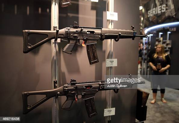 Assault rifles are displayed during the 2015 NRA Annual Meeting Exhibits on April 10 2015 in Nashville Tennessee The annual NRA meeting and exhibit...