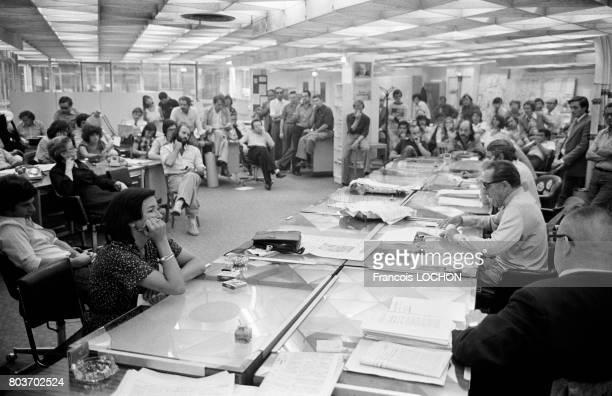 Assemblée générale lors d'une grève au quotidien FranceSoir le 23 août 1976 à Paris France
