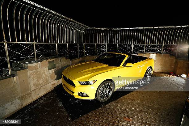 Assembled 2015 Ford Mustang Convertible is prepared for its unveiling at The Empire State Building on April 16 2014 in New York City