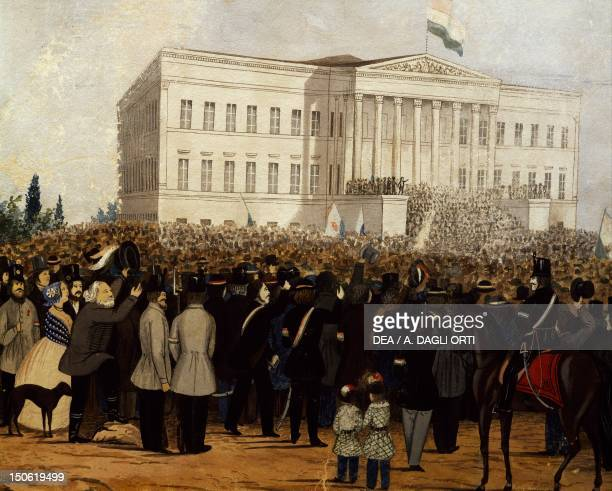 Assembly gathering in front of the Palace of the National Museum in Budapest 1848 Habsburg Empire Hungary 19th century