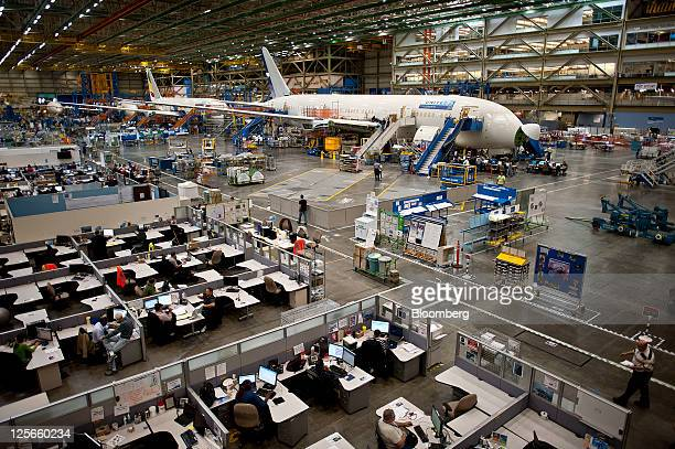 Assembly of Boeing Co's 787 Dreamliner takes place at the company's factory in Everett Washington US on Monday Sept 19 2011 British Airways will...