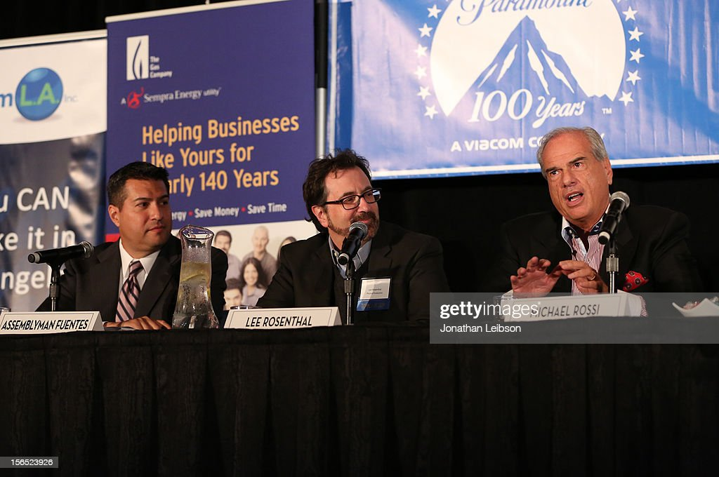 Assemblymember Felipe Fuentes, Lee Rosenthal, President , Physical Production, Paramount, and Michael Rossi, Senior Advisor for Jobs & Business speak onstage during The Rundown On Ran-Away Production Panel at Variety's Hollywood Chamber Entertainment Conference 2012 at Loews Hollywood Hotel on November 16, 2012 in Hollywood, California.
