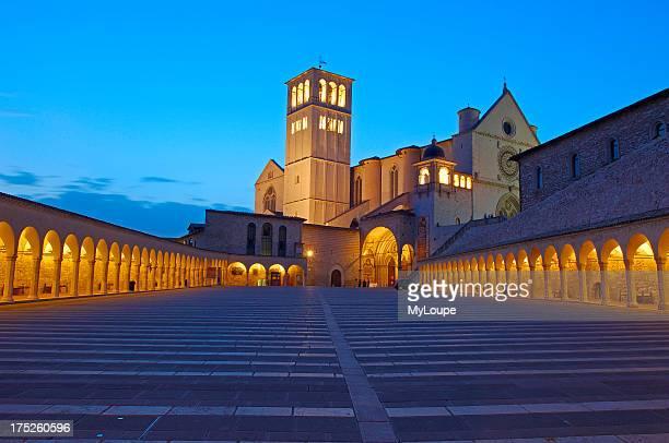 Assisi Basilica di San Francesco Basilica of Saint Francis at Dusk UNESCO World Heritage site Perugia province Umbria Italy Europe
