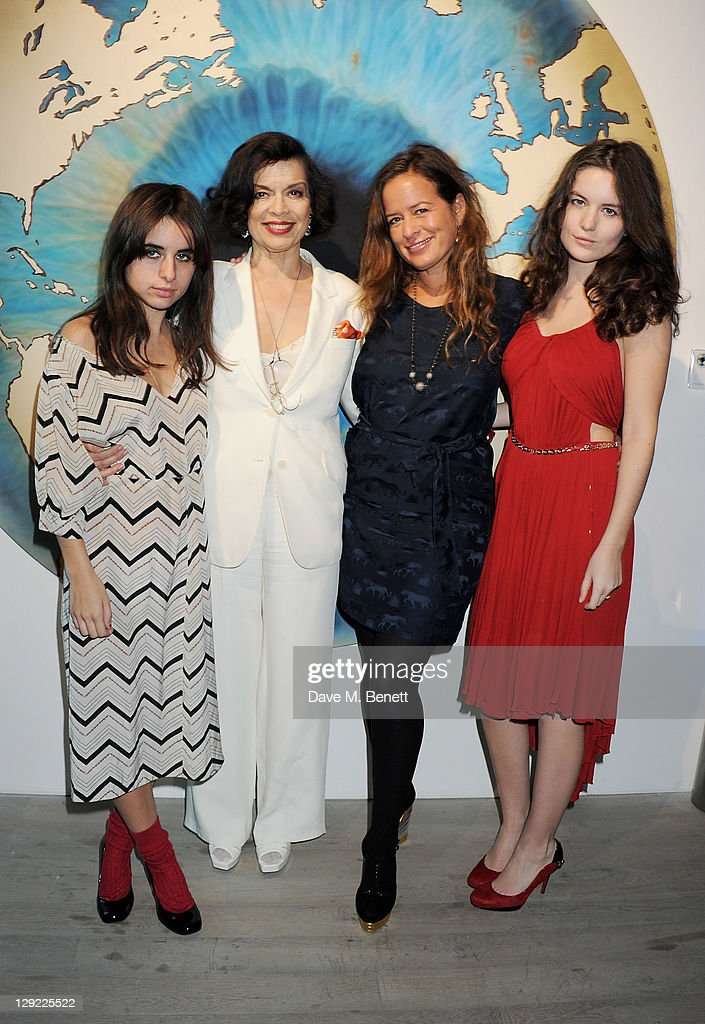 Assisi Jackson, Bianca Jagger, Jade Jagger and Amba Jackson attend 'Arts For Human Rights', the inaugural Bianca Jagger Human Rights Foundation Gala supported by Swarovski, at Phillips de Pury And Company on October 14, 2011 in London, England.