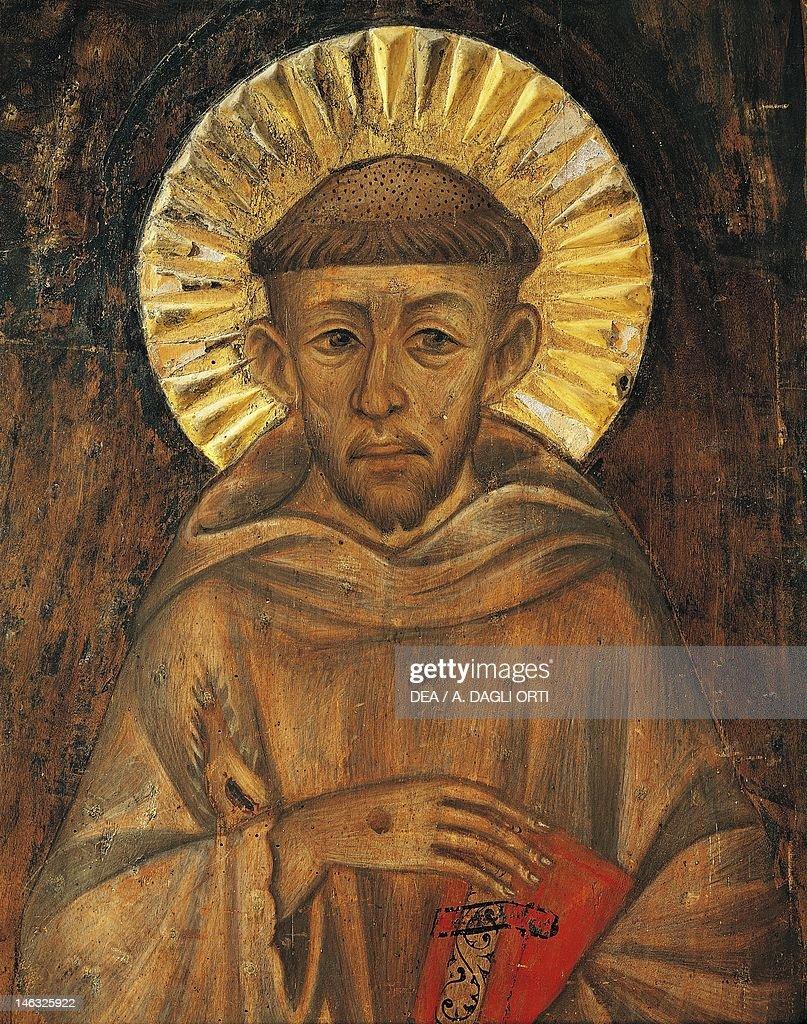 Assisi, Museo Della Porziuncola (Art Museum) St Francis attributed to Cenni di Pepo, known as Cimabue (1240-ca 1302). Detail.