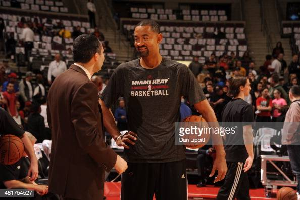 Assisstant coach Juwan Howard talks before the game against the Detroit Pistons on March 28 2014 at The Palace of Auburn Hills in Auburn Hills...