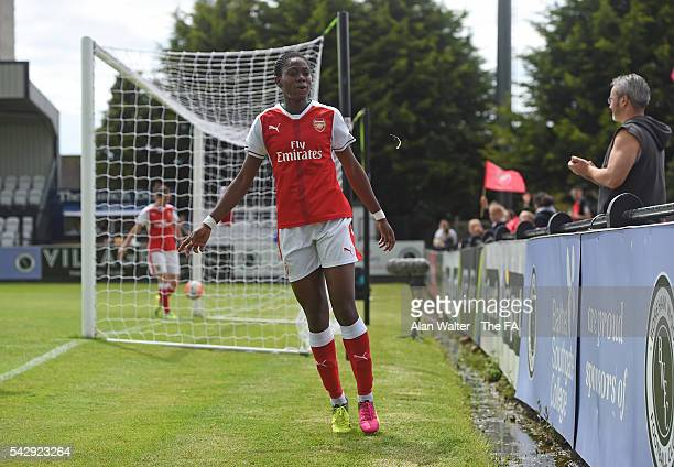 Assist Oshoala of Arsenal celebrates their second goal during the Arsenal Ladies v Sunderland Ladies WSL match on June 25 2016 in Borehamwood England