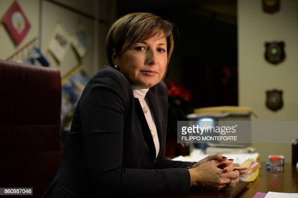 Assistant Attorney District AntiMafia Directorate at the prosecutor's office of Reggio Calabria Alessandra Cerreti poses during a photo session in...