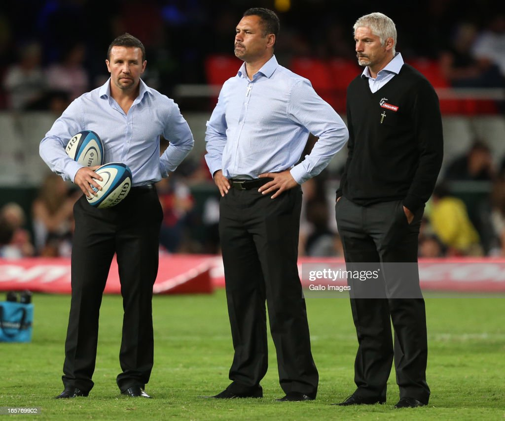 Assistant backs coaches <a gi-track='captionPersonalityLinkClicked' href=/galleries/search?phrase=Aaron+Mauger&family=editorial&specificpeople=234922 ng-click='$event.stopPropagation()'>Aaron Mauger</a> and Tabai Matson and head coach Todd Blackadder look on before the Super Rugby match between The Sharks and Crusaders from Kings Park on April 05, 2013 in Durban, South Africa.