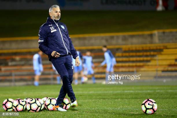 Assistant Coach and former Socceroo Steve Corica of Sydney FC passes the ball prior to the the 2017 Johnny Warren Challenge match between Sydney FC...
