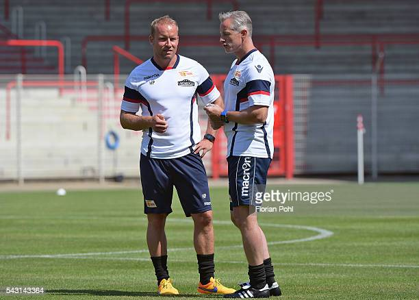 Assistant coach Andre Hofschneider and coach Jens Keller of 1FC Union Berlin during training on June 26 2016 in Berlin Germany