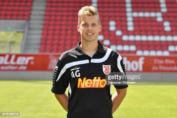 Assistant coach Andreas Gehlen of Jahn Regensburg poses during the team presentation at Continental Arena on July 18 2017 in Regensburg Germany